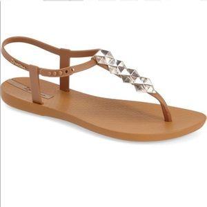 Ipanema Brown Cleo Shine Pyramid Stud Sandals